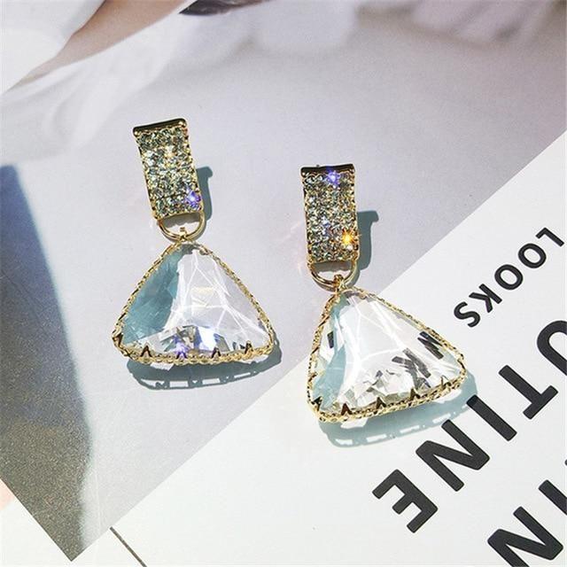 Golden Triangle Crystal Drop Earrings