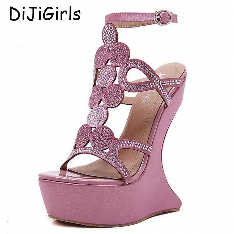 5c281139a27c pink sandals women platform shoes Wedges sandals High Heels shoes open toe  Pumps Platform rhinestone pumps wedding sandals D1112   BrooksRavenna8Womensshoes