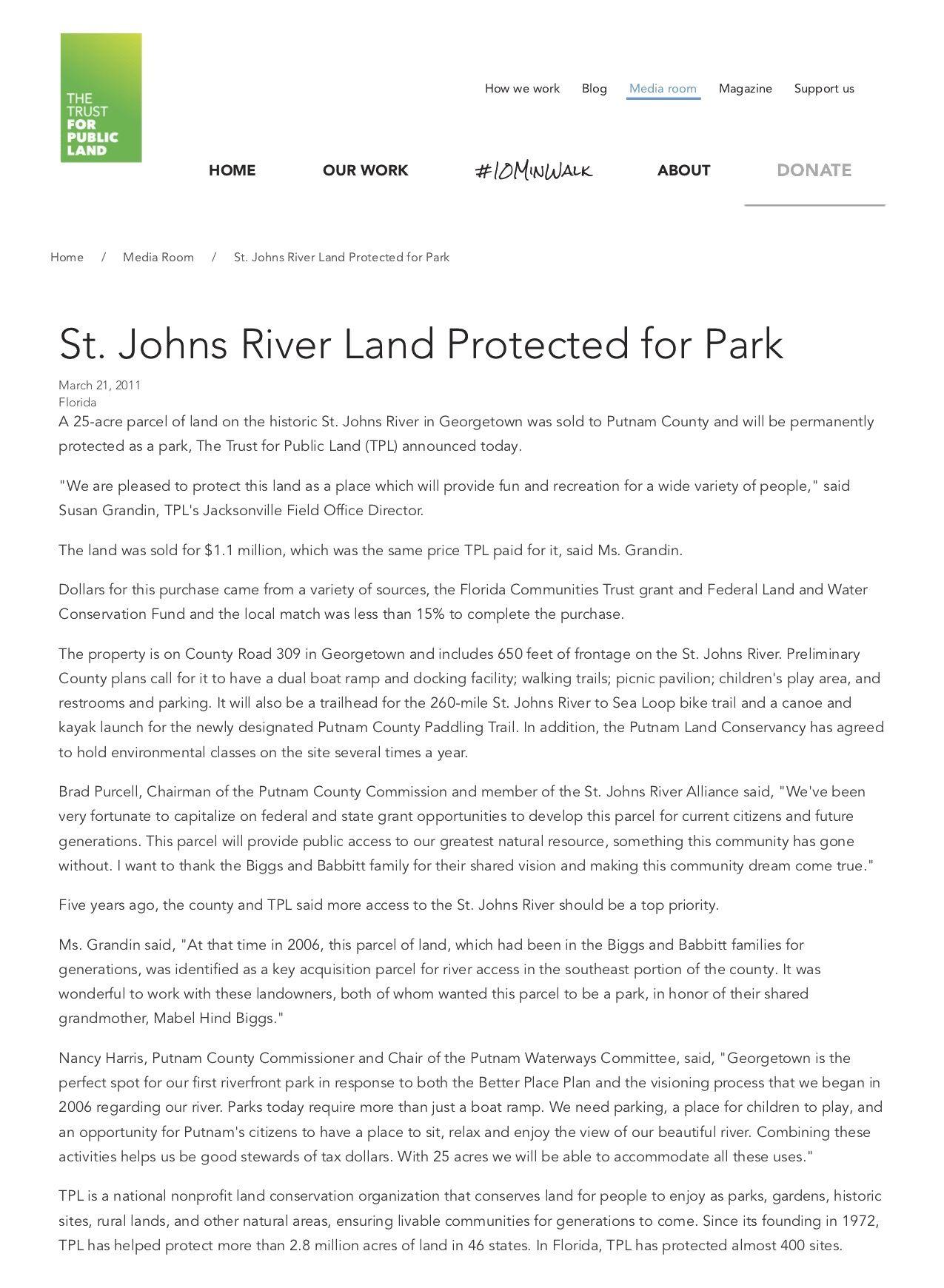 St Johns River Land Protected For Park Trust For Public Land River Park