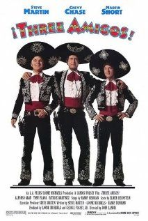 [capsule review] Three Amigos - Yes, a flashback review.  I watched this one in preparation for a silly script-reading drinking game.  Full of laughs and exhibits the best of Martin, Chase, and Short lampooning cliches.  The silliness stands up to time.  (iPad rental, 3/27/12)