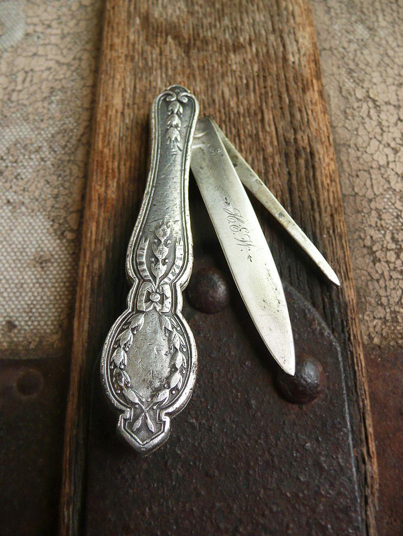 Antique Silver Fruit Knife Victorian Ladies Pocket Knife