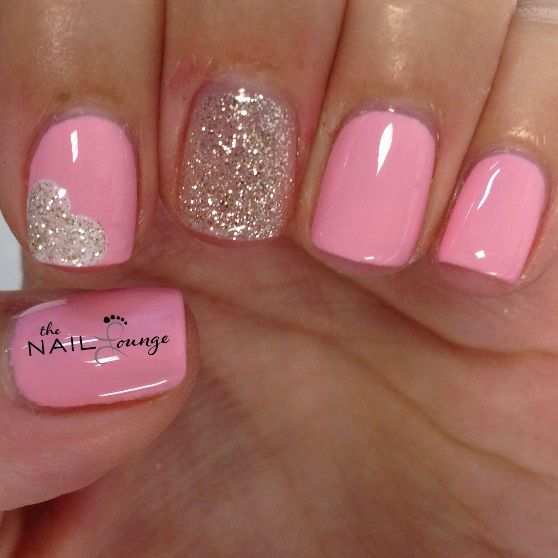 Heart Nail Art: @the_nail_lounge_miramar Glitter Heart Nail Art