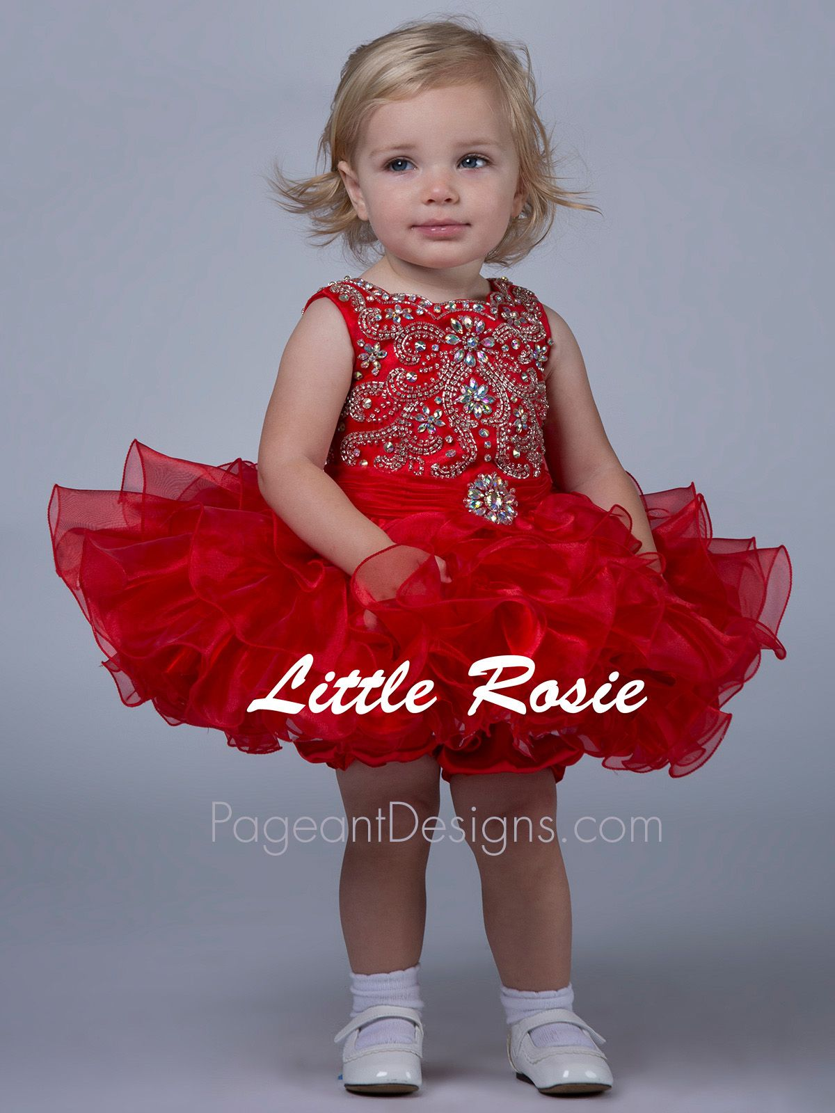 Red pageant dresses for infants are perfect for a national