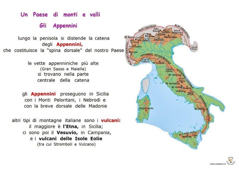 Cartina Dell Italia Alpi E Appennini.Le Regioni Attivita Geografia Geografia Bambini Geografia