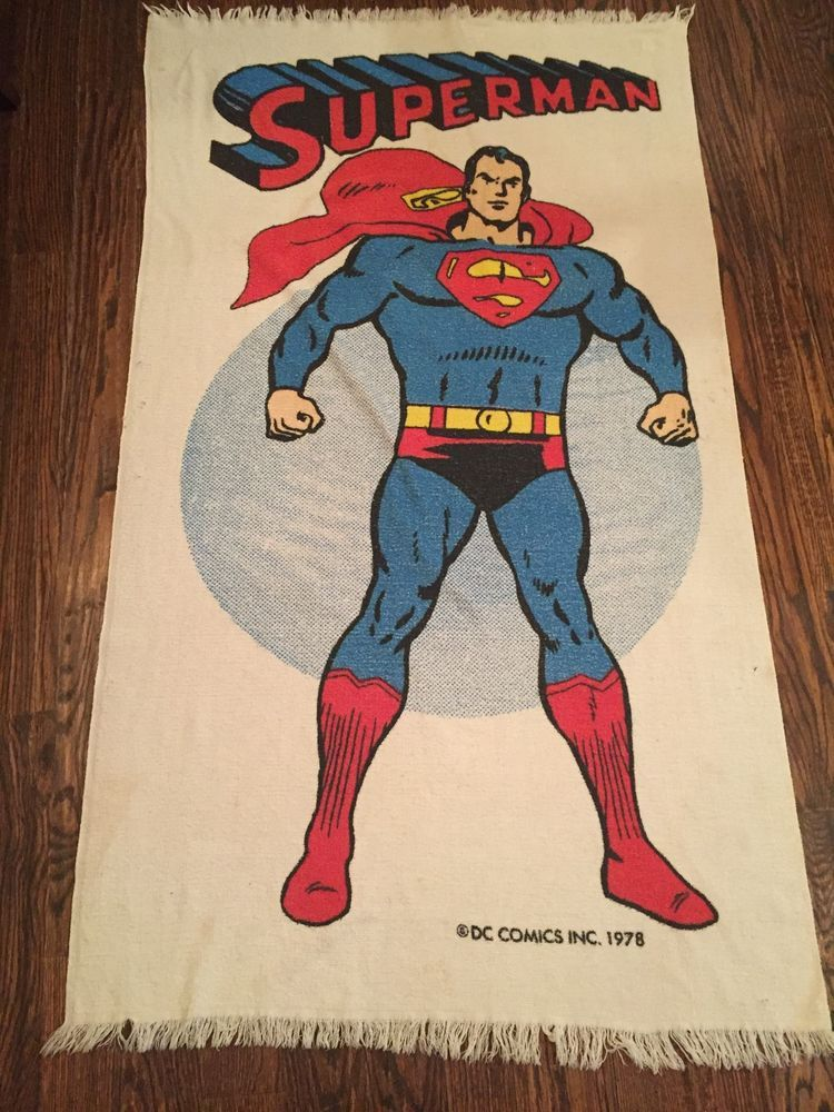 1978 Vintage Superman Beach Towel Bath Bathroom DC Comics Superpowers | EBay