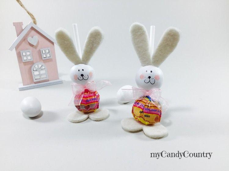 Idee Pasquali In Feltro : Coniglietti fai da te con lecca lecca feltro pasqua fai da te