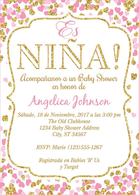 Baby Shower Invitations In Spanish : shower, invitations, spanish, SPANISH, Confetti, Hearts, Shower, Invitation, Invitaciones, Digitales,, Imprimir,