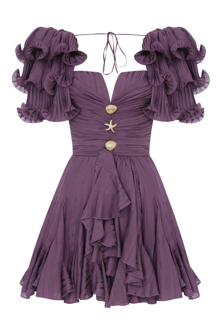 Draped mini dress with ruffles - raisavanessa