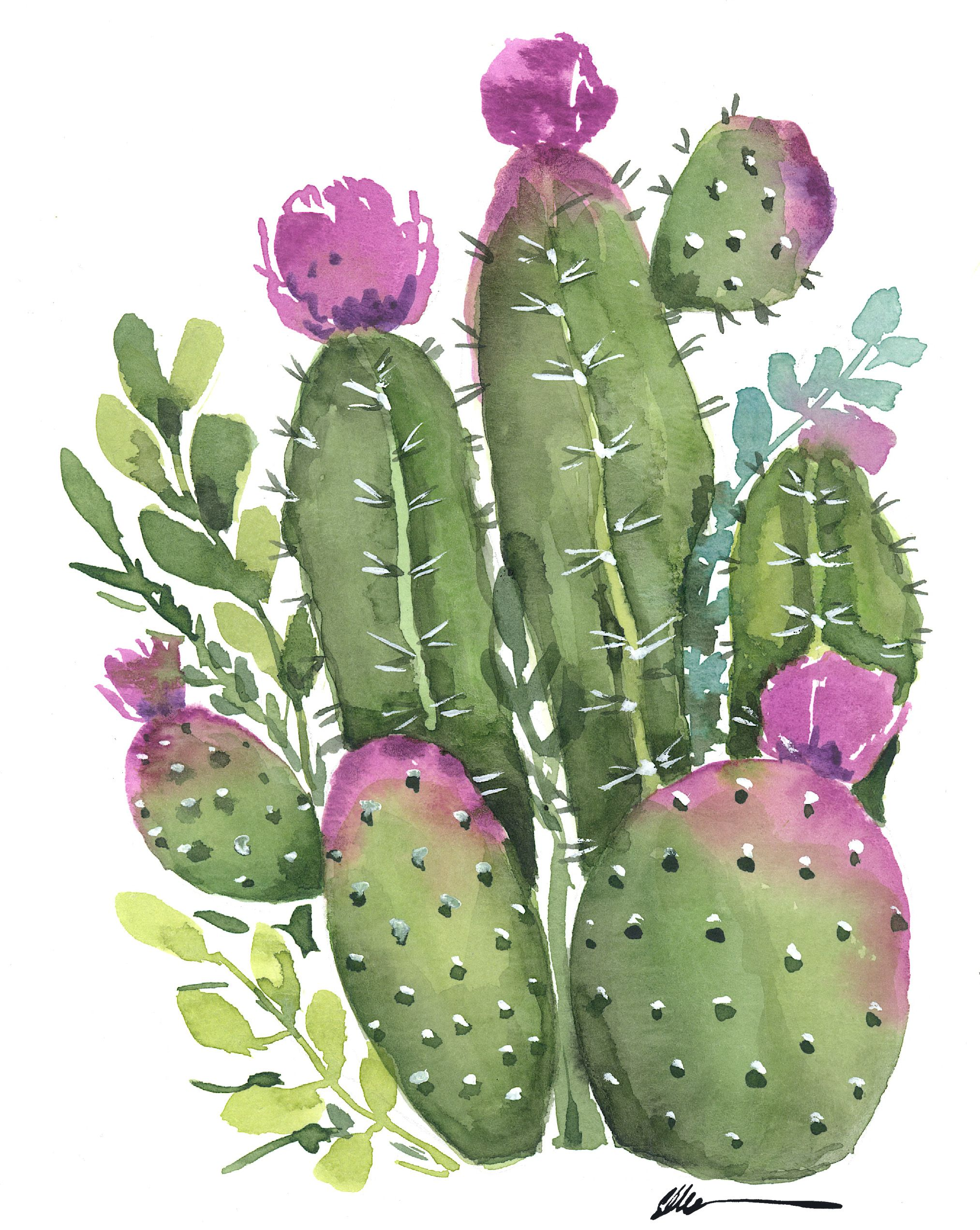 Cactus Garden With Purple Flowers Original Watercolor With Images