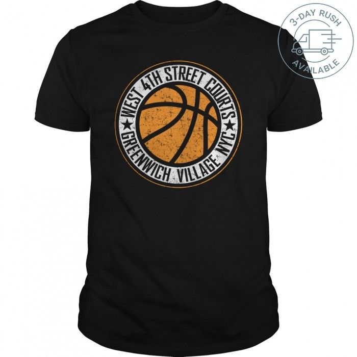 West 4th street basketball courts new york city distressed print teechip shirts ladies tee