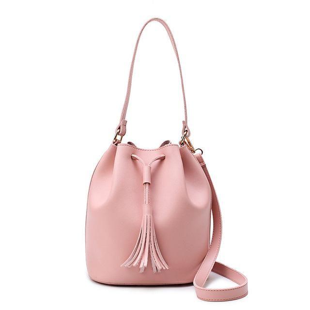 c855453fec Fashion Small Bucket Bag Women Leather Shoulder Bag Candy Color Mini  Drawstring Handbag Pink Tassel Crossbody