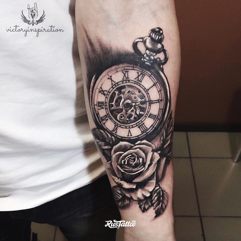 лучший татуировки с часами на руке плече для мужчин женские