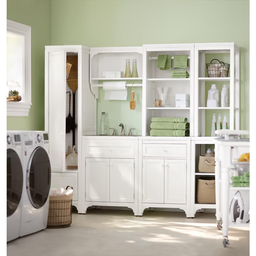 Beau Martha Stewart Living Two Door 36 In. H X 24 In. W In Picket Fence Laundry  Storage Cabinet