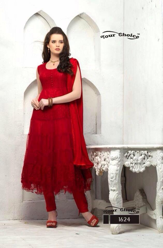 22dda56726d Buy Brasso Net Red Colour Anarkali Suit Dress Materials  justforbuy ...