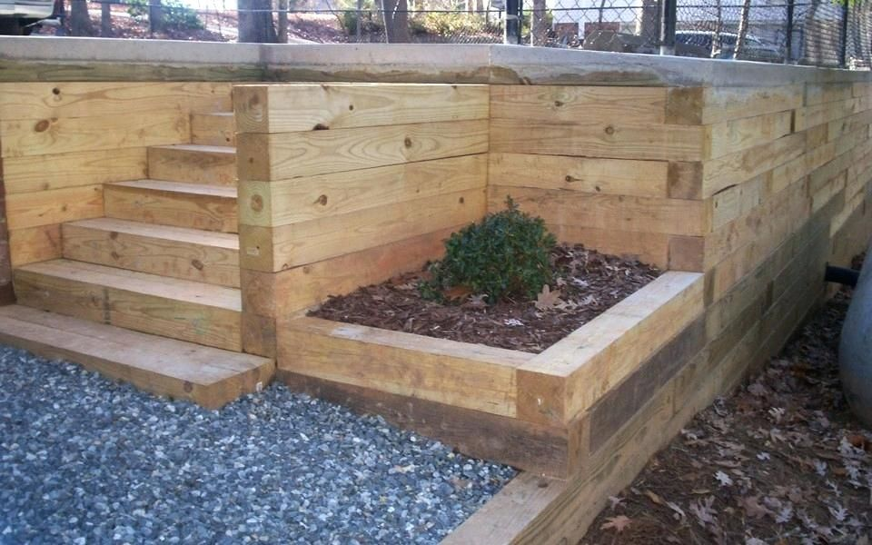 8x8 Landscape Timbers Wood Retaining Wall Post Spacing 8x8 Landscape Timber Cabin Landscape Timbers Landscaping Retaining Walls Landscape Timber Edging