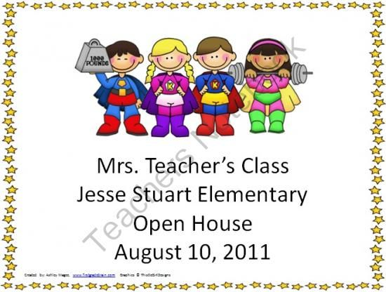 Open House/Back to School PowerPoint Presentation SuperHero Kids