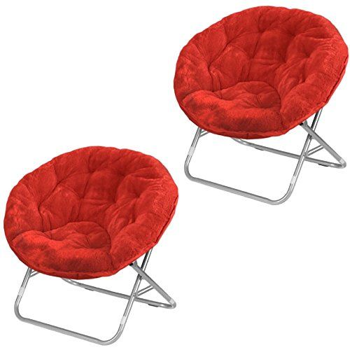 Etonnant Mainstays Faux Fur Saucer Chair, Red (2)