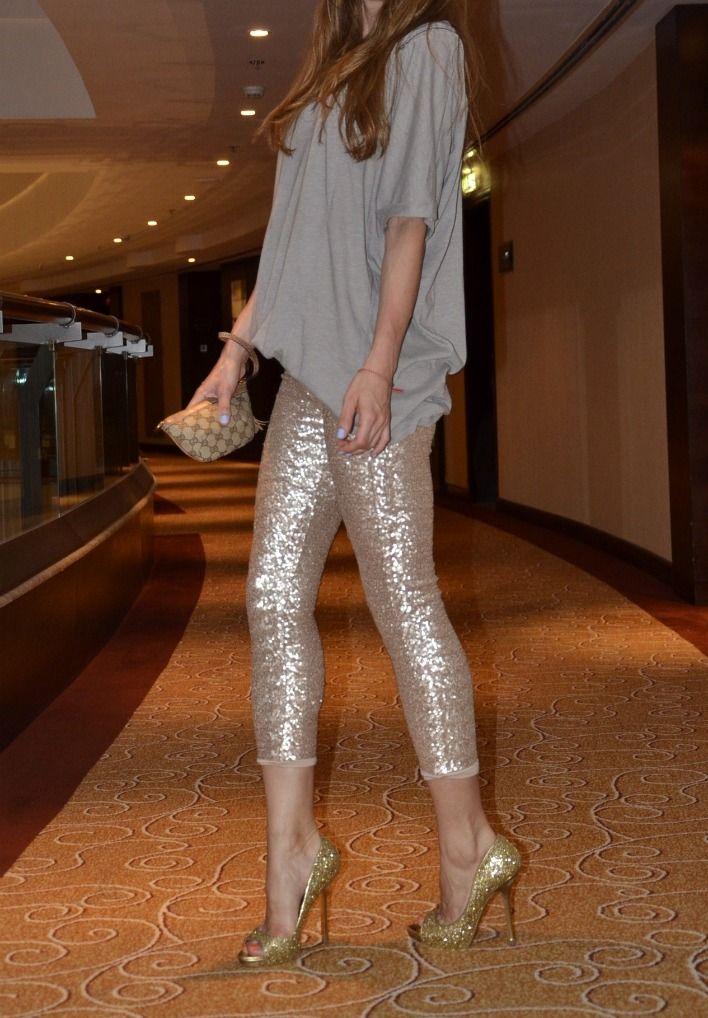 sequin leggings & sparkly heels