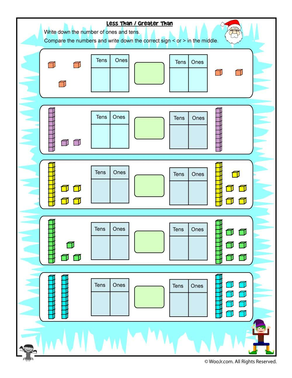 Hundreds Tens And Ones Comparison Greater Than Less Than Woo Jr Kids Activities Tens And Ones Worksheets Tens And Ones Christmas Math Worksheets [ 1294 x 1000 Pixel ]