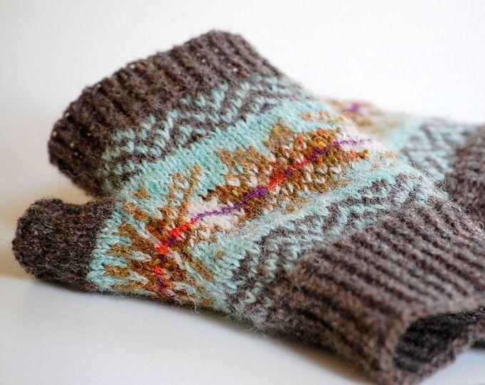 Fair isle fingerless gloves Womens wrist warmers Knitted texting ...