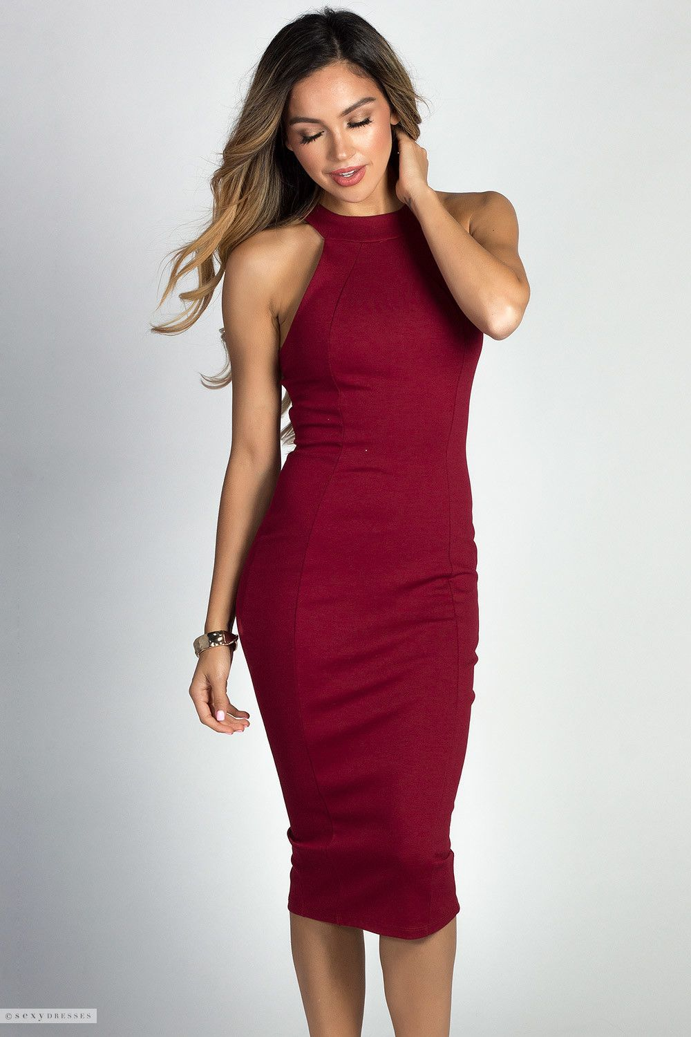 Simple Cage Back High Neck Halter Red Classy Cocktail Dress ...