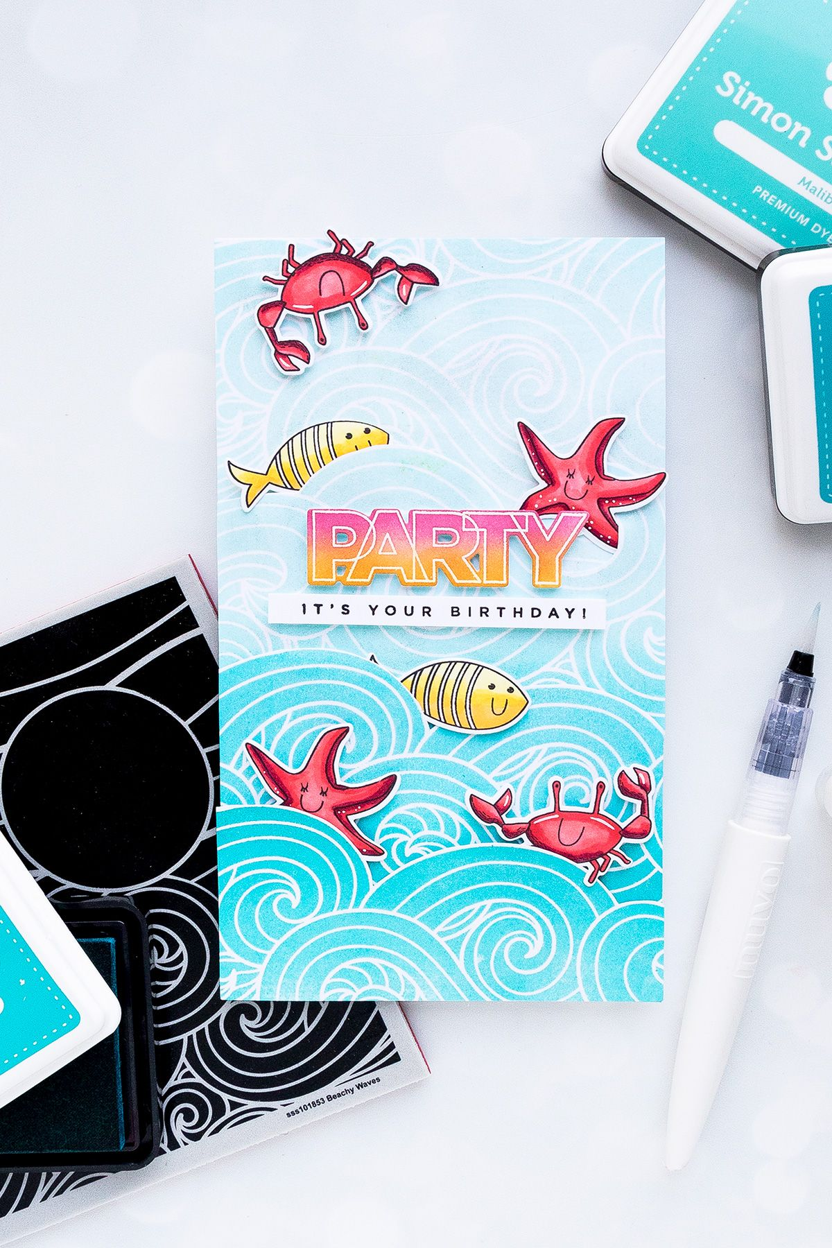 Simon says stamp extending background stamps for tall cards