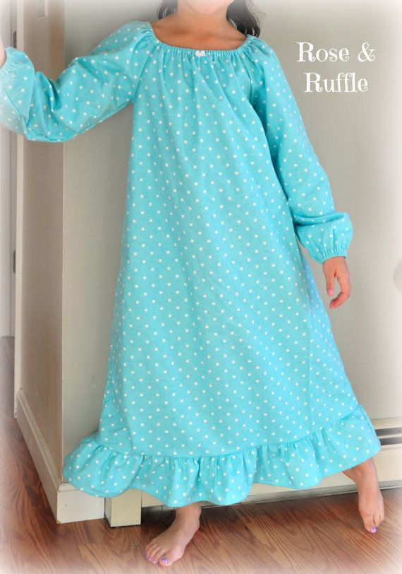Girls Cotton Flannel Old Fashioned Nightgown. Choose Your Fabric and Sleeve  Style. Available in Sizes 5 6 7 8 9 10 b04dbb035