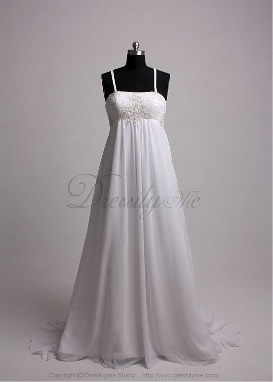 Beautiful Elegant Exquisite Chiffon Wedding Dress In Great Handwork
