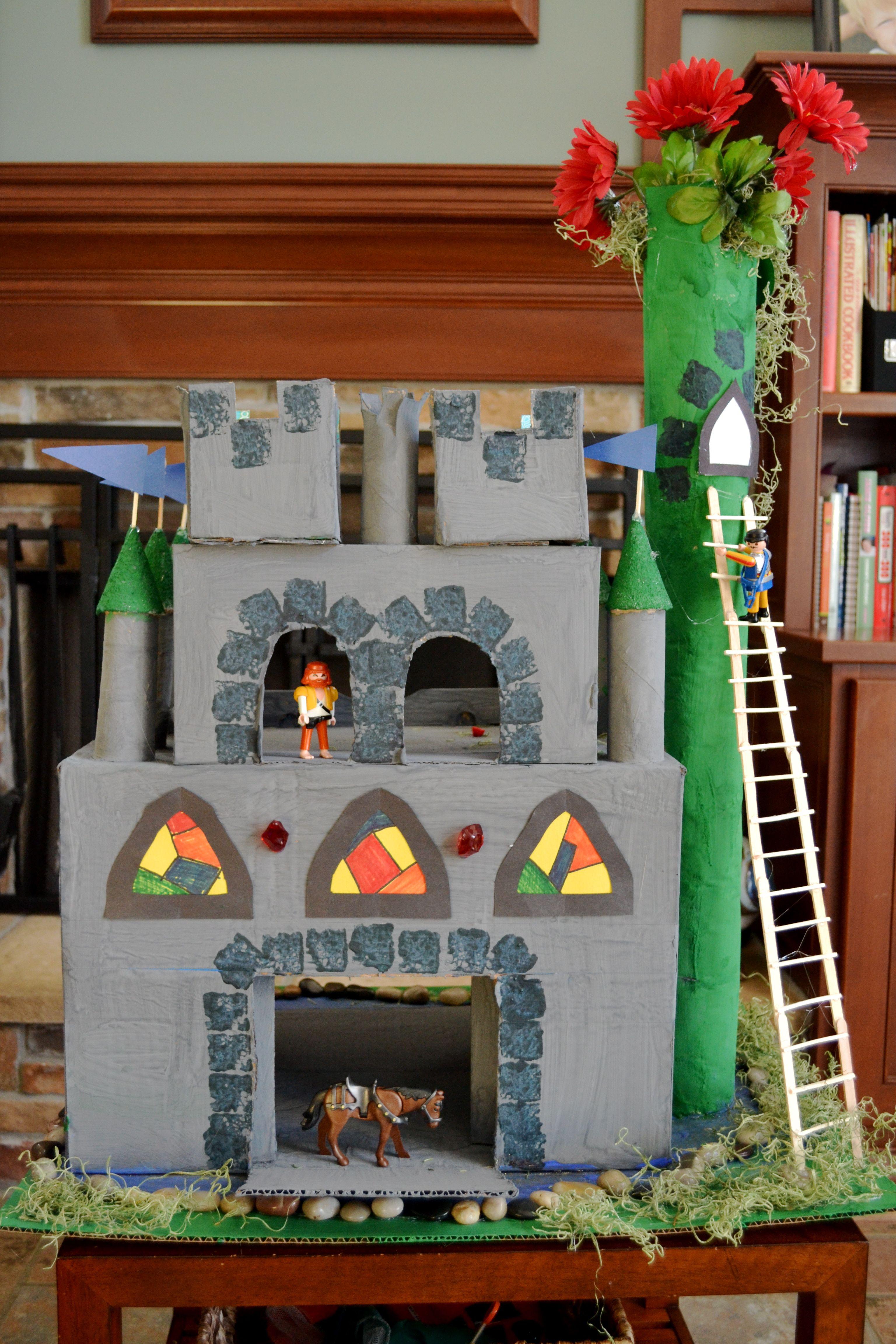 Castillo con rollo de papel y cajas castillos - Manualidades castillo medieval ...