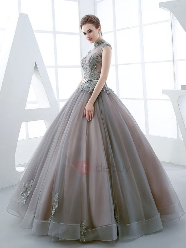 Vintage High Neck Ball Gown Cap Sleeves Appliques Beading Floor ...