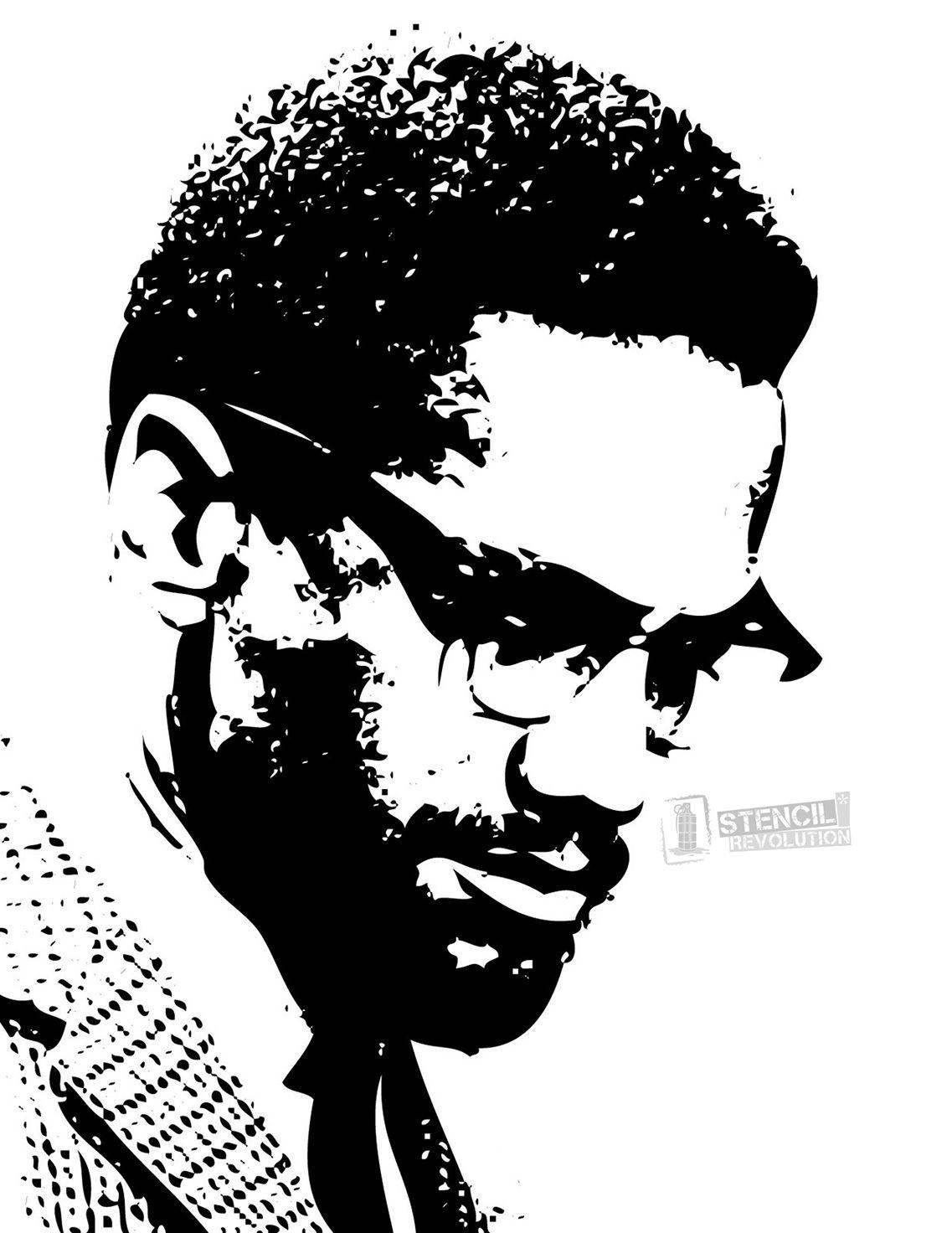 Malcolm X Stencils   Dibujos geniales, Sociología y Informática