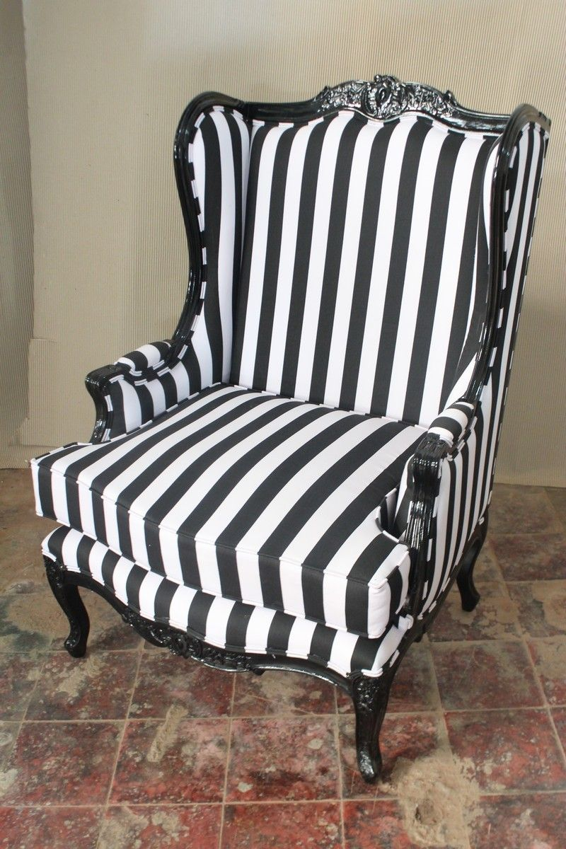 Black chair and white chair - French Oreiles Louis Xv Wing Back Chair Black And Black And White Stripe Fabric Ebay