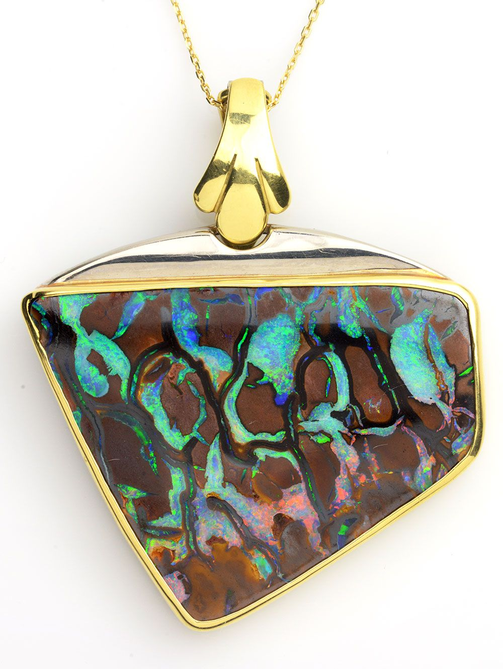 Colorful Green, Blue, Brown, and Pink Opal Necklace. Item #499-78417 Estate 60.00 ct Boulder Opal Free Shape 18K Yellow Gold Pendant Approx.Wt. Length 17 - Gem Shopping Network Jewelry