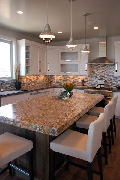 Kitchen Island Yes Or No kitchen granite top island & glass tile back-splash. this is 100