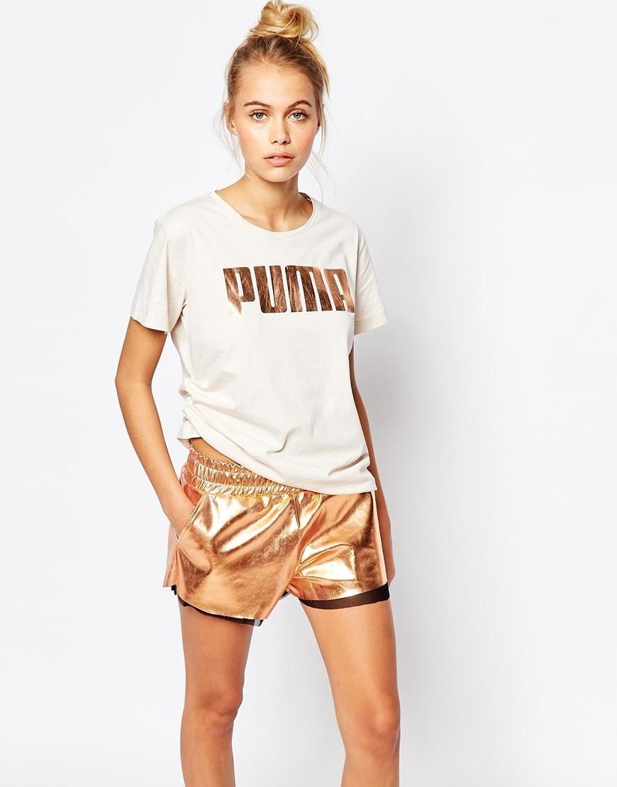 Puma Oversized Boyfriend T-Shirt With Rose Gold Logo at asos.com