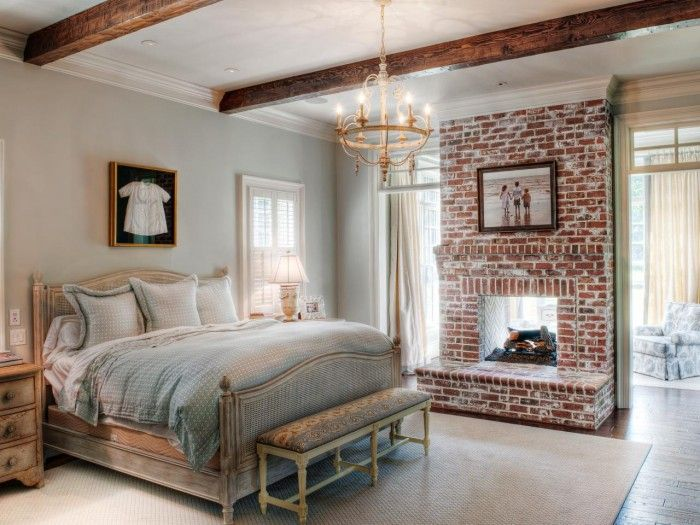 Rustic Country Bedroom Idea With Bricks Fireplace And Unfinished Look  Bedroom Furniture Design