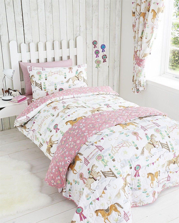 Childrens boys girls double bed duvet set horse show jockey horses ... : quilt covers single bed - Adamdwight.com