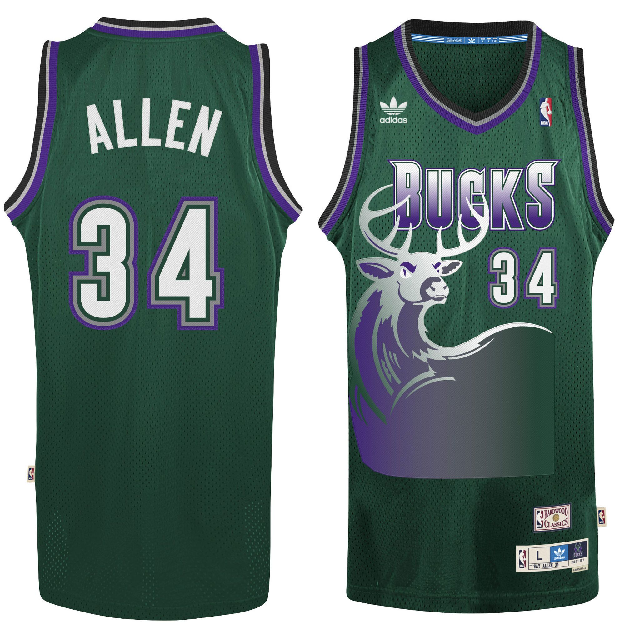 12d8d4b7d12 ... ray allen milwaukee bucks adidas hardwood classic swingman jersey  hunter green