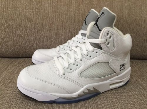 d218e68de22 Deadstock Nike Air Jordan 5 Retro White Silver Metallic Men Size 10 ...