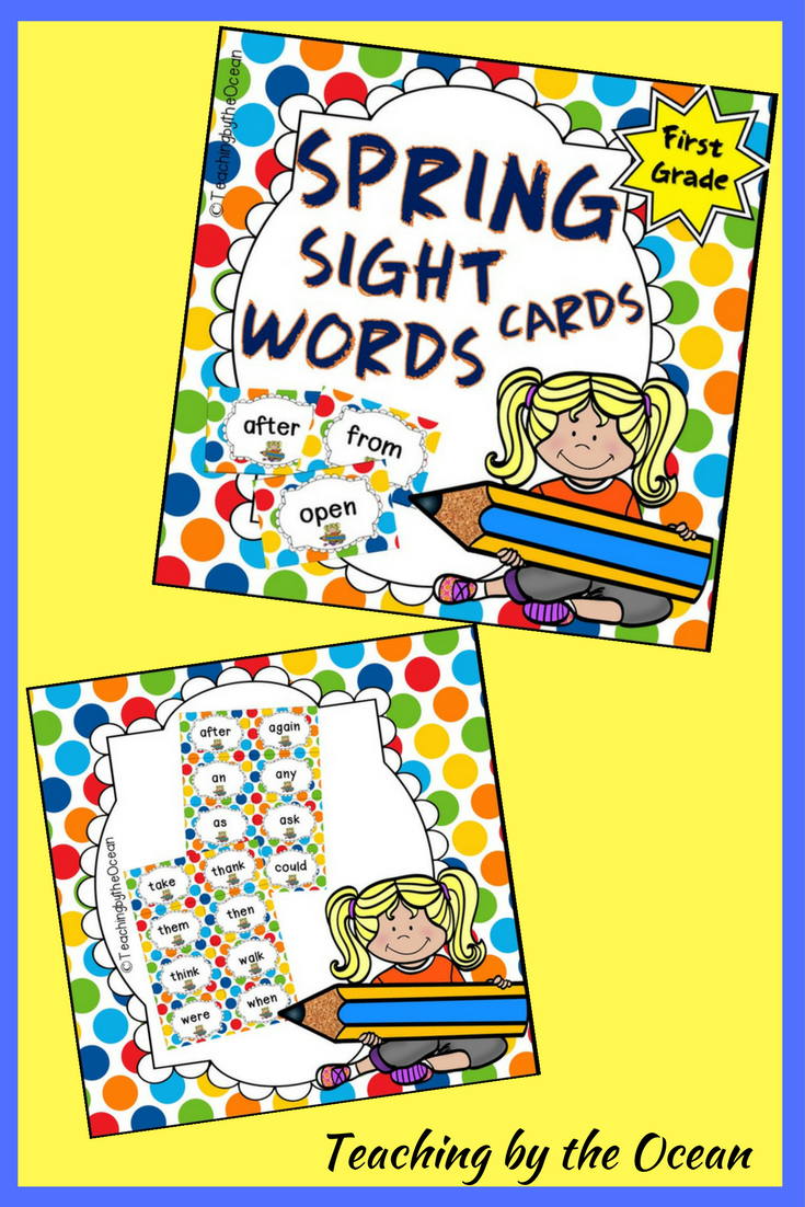 First Grade Sight Word Cards - Spring Themed | Word wall displays ...
