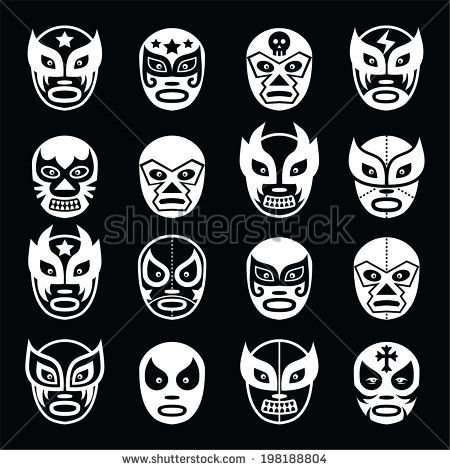 Lucha libre luchador Mexican wrestling white masks icons on black