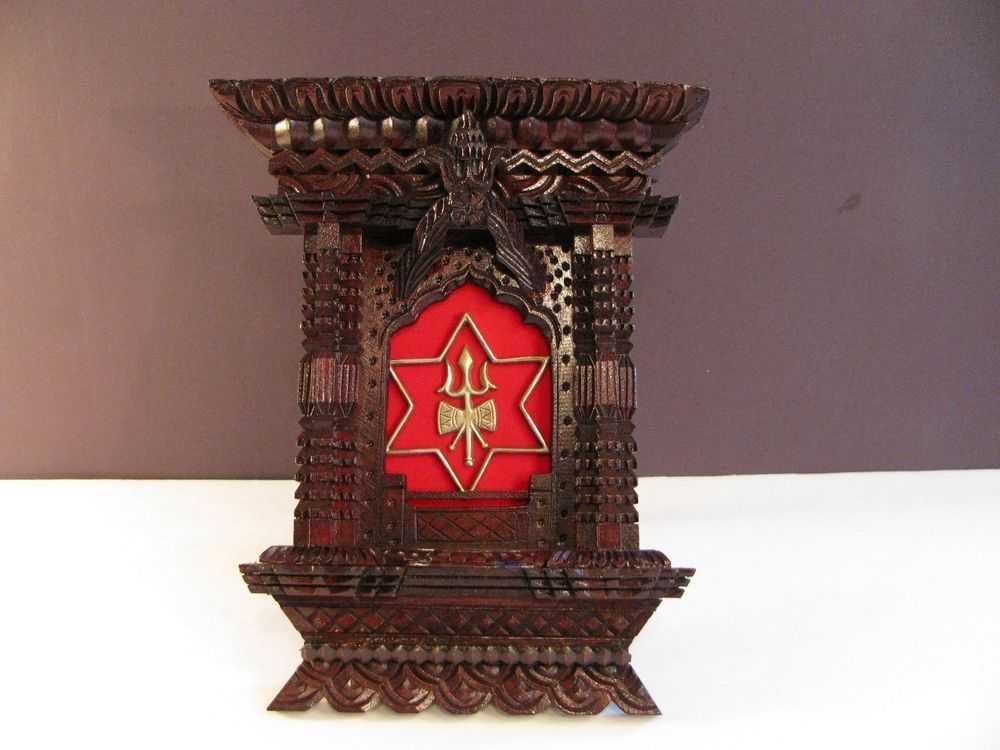 Carved Wood Tramp Art Frame Hand Made Craft Hindu Metal Trident ...