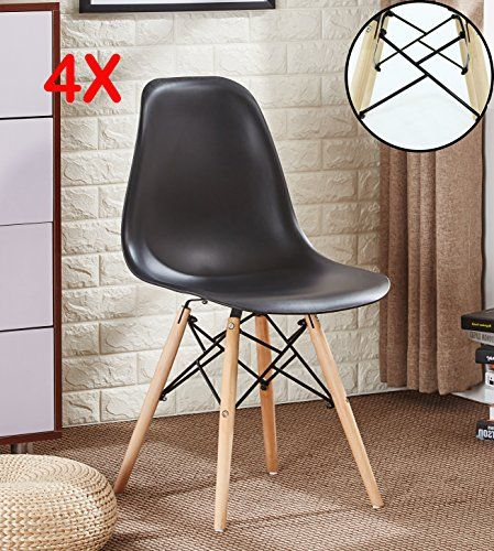 Pu0026N Homewares® SET OF 4 Romano DS Moda Chair Plastic Wood Retro Dining  Chairs White Black Grey Red Yellow Pink Green Blue | Retro Dining Chairs,  ...