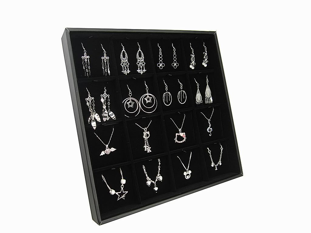 Black Velvet Earring Display Stand Black Velvet Jewelry Display Case with Easel Stand for Earrings 5