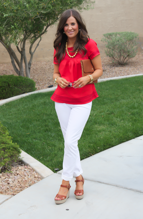 Red Linen Blouse White Skinny Jeans Wedge Sandals