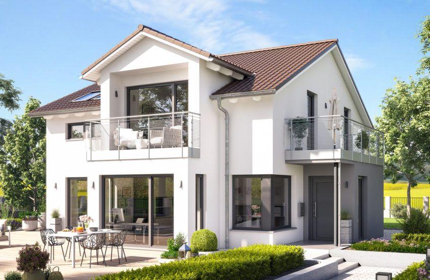 Fertighaus modern mit Satteldach, Erker, Loggia & Balkon