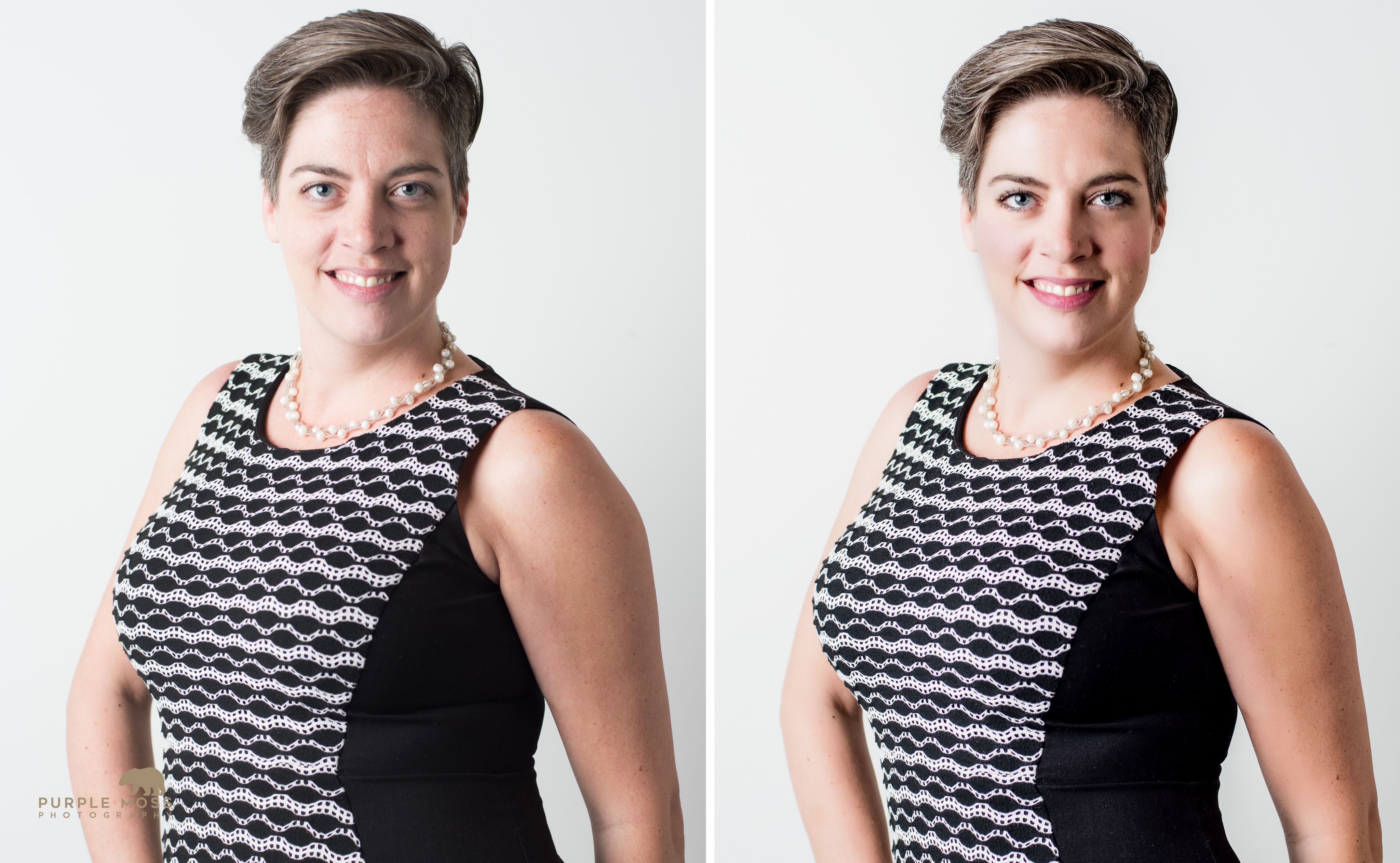 Before and After Women's Headshot | Creative Portrait Ideas | Fun Business Photos | Custom Marketing Images | Utah Portrait Photography | Business Professionals | Dress to Impress | What to Wear for Headshots | Out of the Box | Salt Lake City | Utah | Small Business Marketing Ideas | LinkedIn Profile Pictures | Purple Moss Photography | SLC