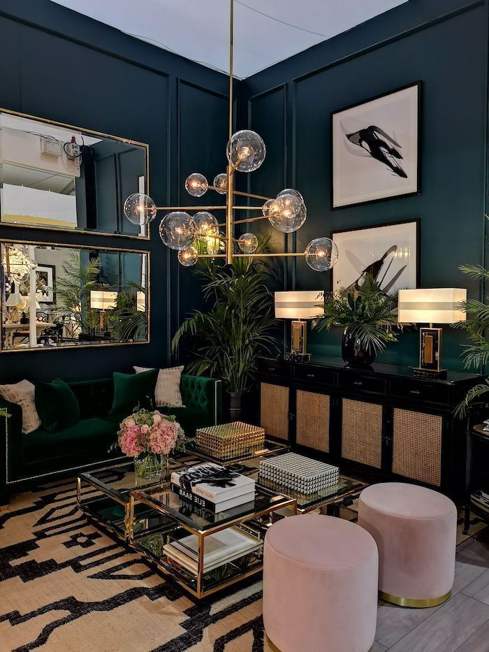 Industrial Home Decor Uk In 2020 Contemporary Living Room Design Living Room Green Dark Living Rooms