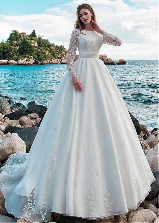 Modest Lace & Organza Jewel Neckline A-line Wedding Dress With ...