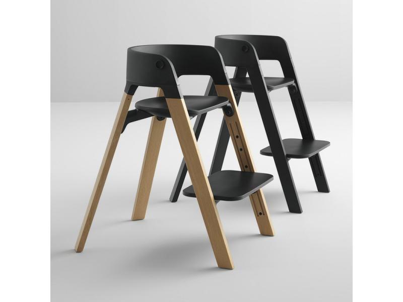 Chaise Steps Assise Noire Pieds En Bois De Hetre Gris Brume Chaise Bois Design Chaise Evolutive Chaise Haute Design